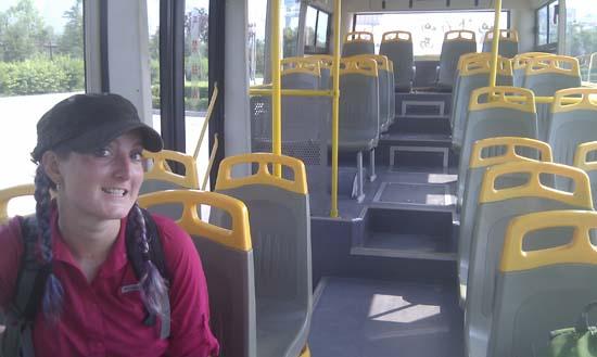 Empty shuttle bus