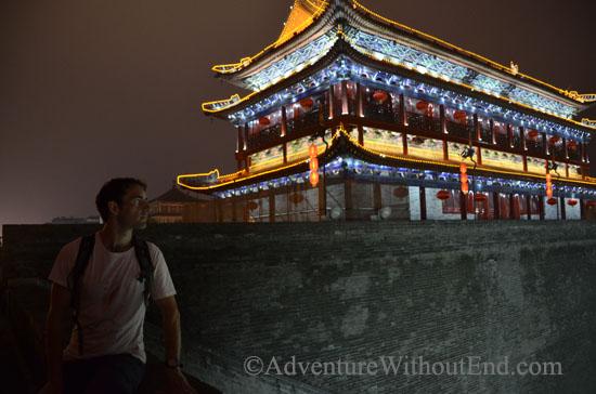 Tony on Xian city walls at night