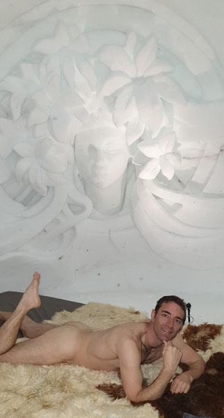Tony on an igloo bed